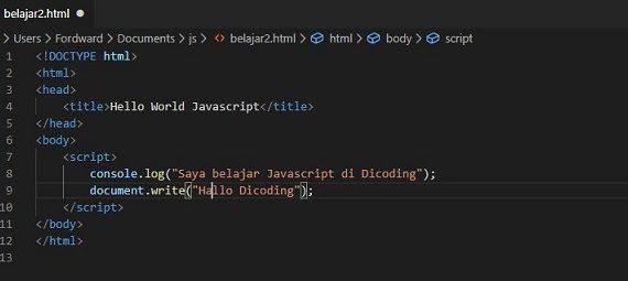 Belajar JavaScript dengan IDE